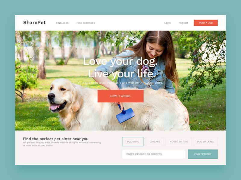 Share Pet Homepage Concept Pets, Pet boutique, Pet sitters