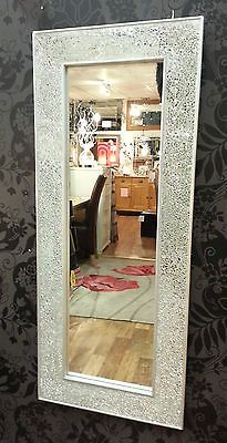 Crackle Mosaic Glass Silver Frame Wall Mirror Full Length 120x50cm New Handmade Framed Mirror Wall Mirror Wall Decor Mirror