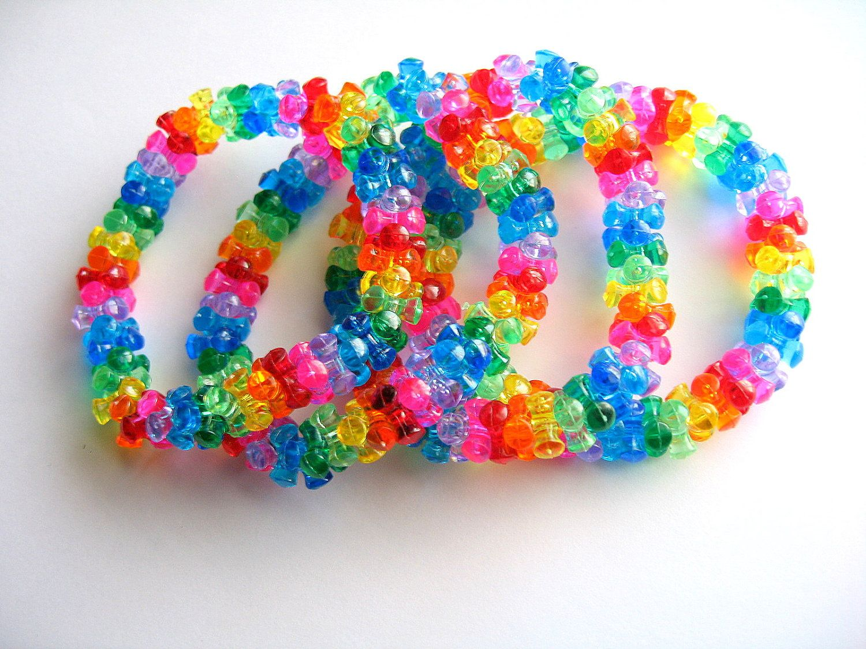 kandi tri bead bracelets rainbow translucent by on etsy 4 50 a diy ideas