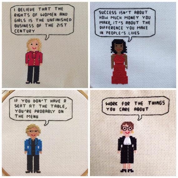 Ladies of Washington Cross Stitch Pattern PACKAGE - Michelle Obama, Ruth Bader Ginsburg, Hillary Clinton + Elizabeth Warren