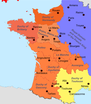 A Coloured Map Of Medieval France Showing The Angevin Territories - Limoges france map