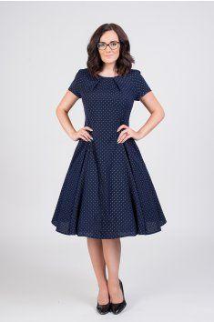5ef8590d40c3 LAURA vlněné šaty s jemným puntíkem tmavě modré retro šaty kolová sukně  50.léta ruční