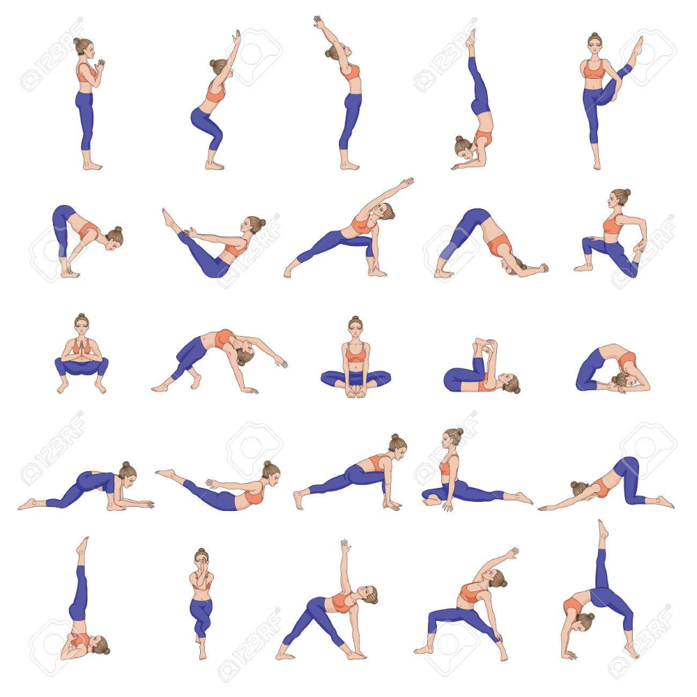 Women Silhouettes Collection Of Yoga Poses Asana Set Yoga Poses Pictures Asana Yoga Poses Yoga Poses