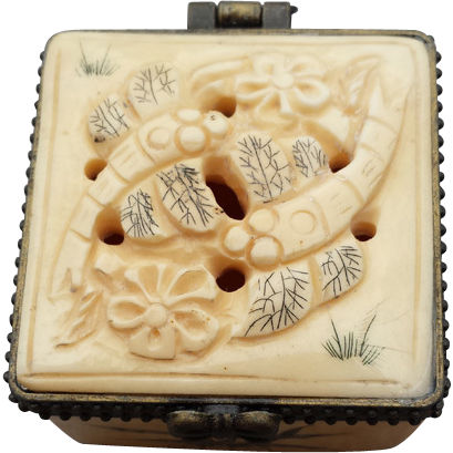 Vintage Carved Bone Pill Trinket Box Dragonflies From Toinetterl On Ruby Lane Bone Carving Trinket Boxes Carving