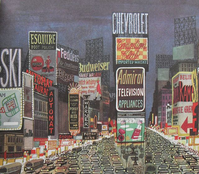 Times Square 1950s Vintage Illustration New York City North Side Vintage Illustration Guys And Dolls Nyc Photography