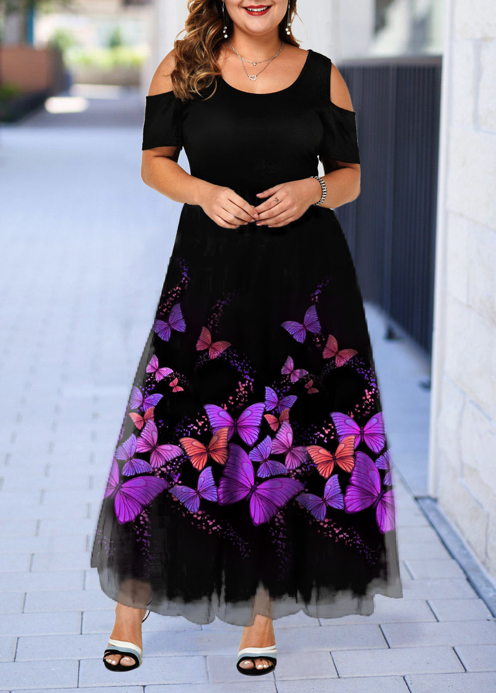 Plus Size Butterfly Print Cold Shoulder Maxi Dress Plus Size Cocktail Dresses Plus Size Fashion For Women Summer Butterfly Print Maxi Dress [ 1395 x 1000 Pixel ]