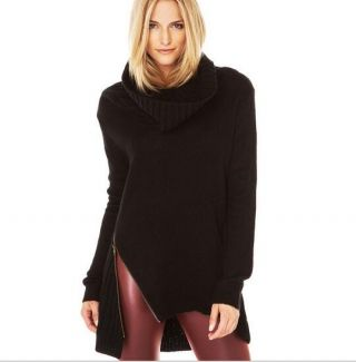 black cowl neck sweater for women zipper fork ribbed sweater ...