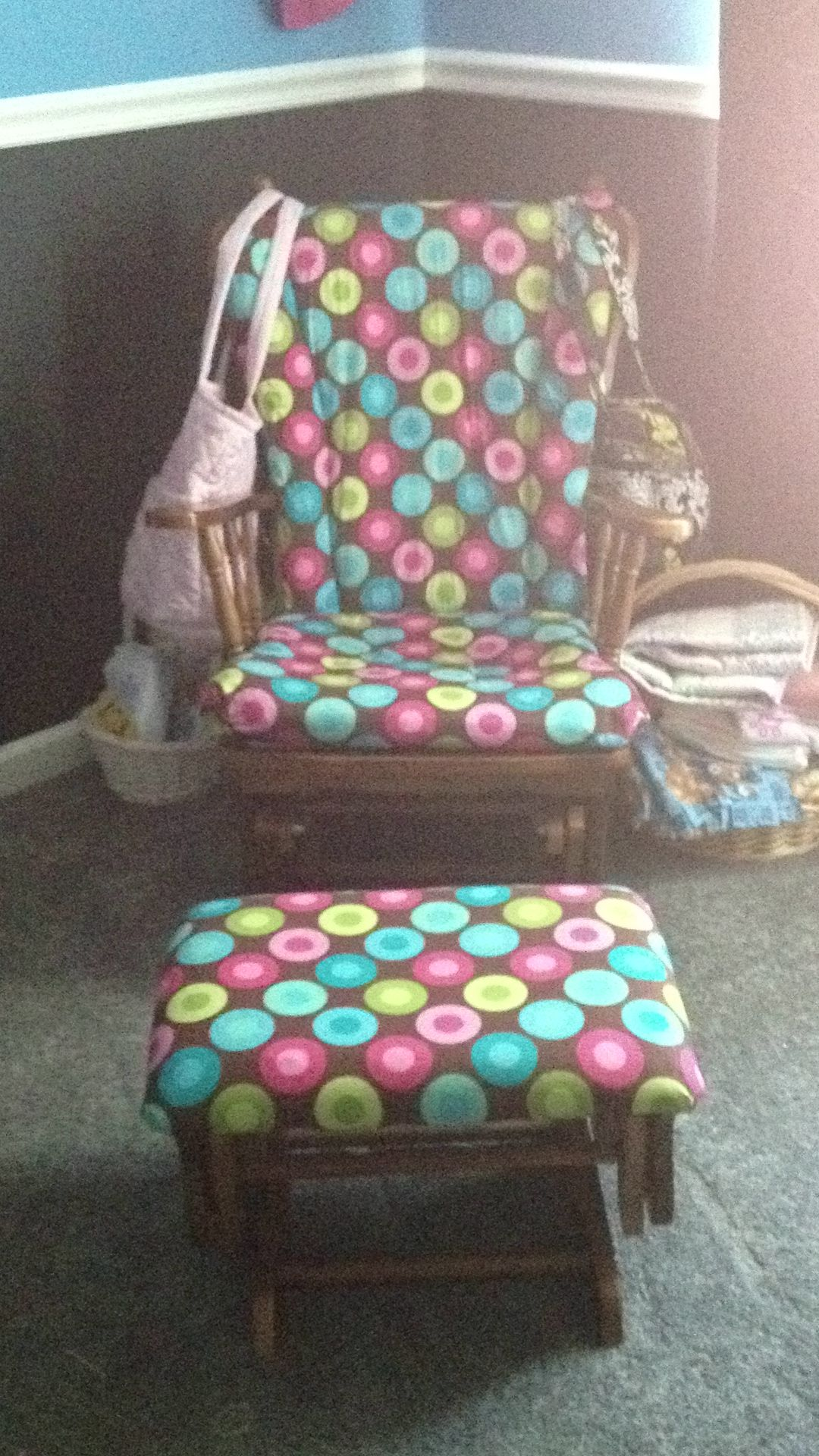 Reupholstered glider | Reupholster, Fabric, Crafty