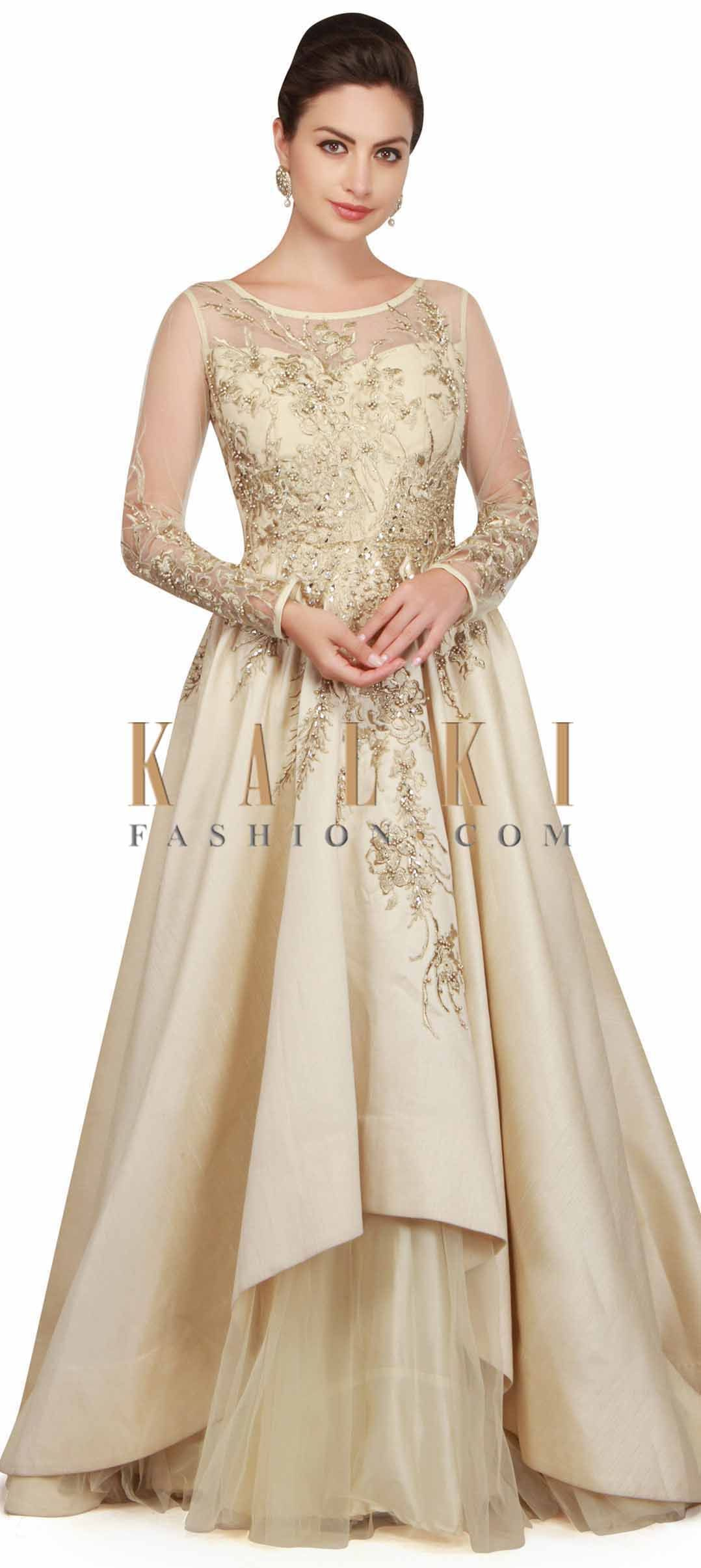 Pearl cream gown with bodice in pearl and zari work only on Kalki ...