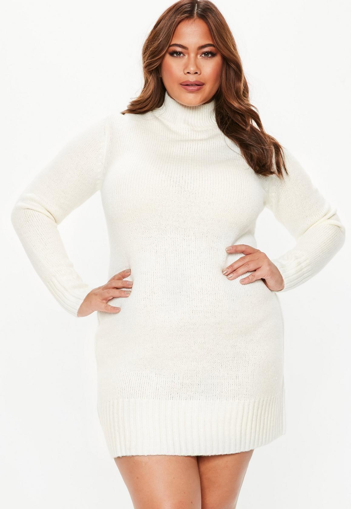 Plus Size Cream Turtle Neck Jumper Dress In 2019 Love It