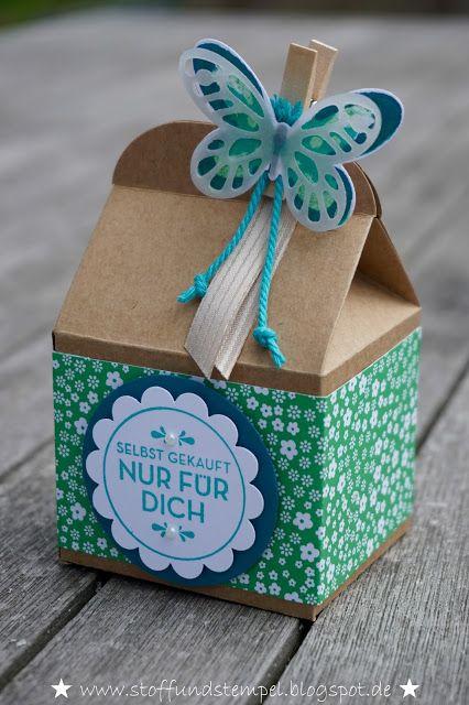 Box Basteln stoff und stempel leckereien box mit watercolor wings stoff und