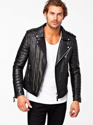 Men's Black Quilted Leather Biker Jacket, White Crew neck T