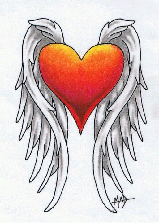 Corazon X Alas Dibujos De Corazones Corazon Con Alas Disenos De Tatuajes De Corazon