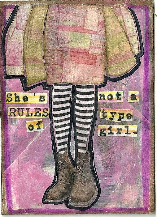 she's not a rules type of girl print of original mixed media illustration by Joy Northrop @ PaperPetite.etsy.com