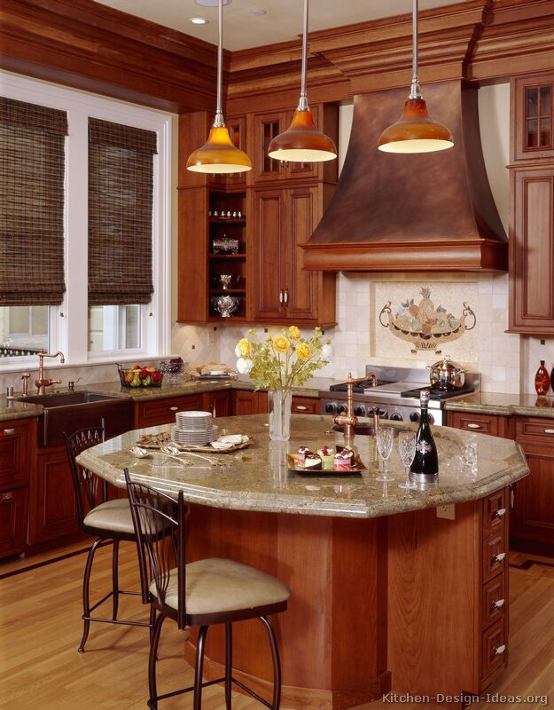 Traditional Medium Wood Cherry Kitchen Cabinets  I Like The Classy Cherry Kitchen Design Review