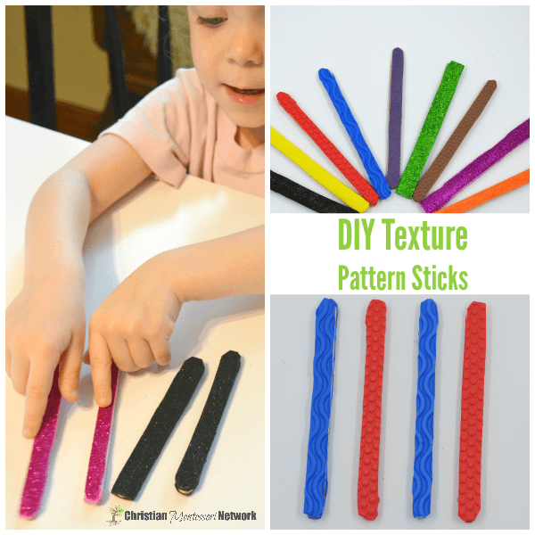 These DIY texture pattern sticks for preschoolers are super easy to make and a great way to work on patterns through the senses of sight and touch.