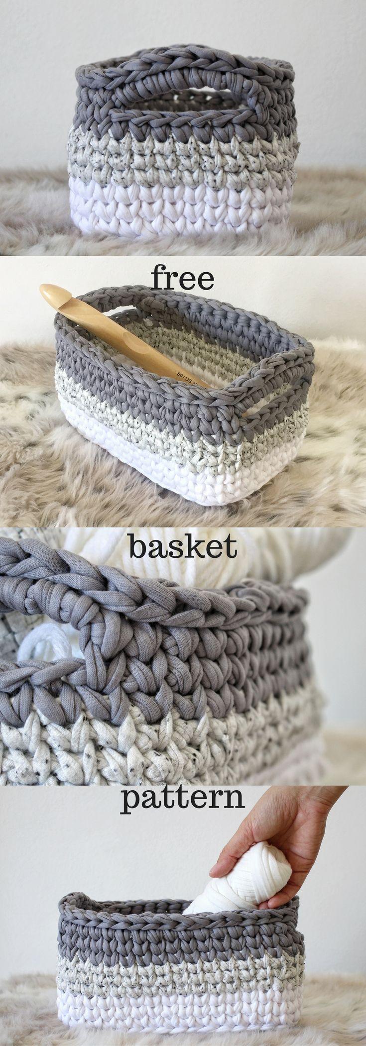 free crochet tutorial, Crochet Basket Pattern, Storage Baskets ...