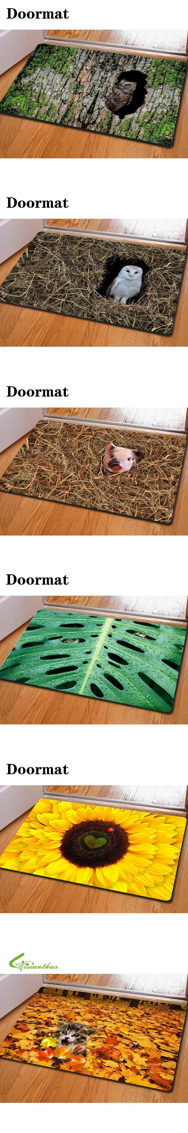 Doormat 3d Animal Printed Carpets Non Slip Kitchen Tapetes Rugs Para  -> Tapete Chenille Sala