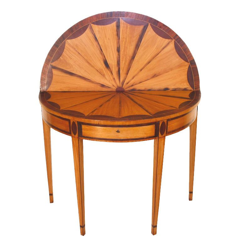 Hepplewhite Inlaid Demi Lune Card Table | From A Unique Collection Of  Antique And Modern Game Tables At Https://www.1stdibs.com/furniture/tables /game Tables ...