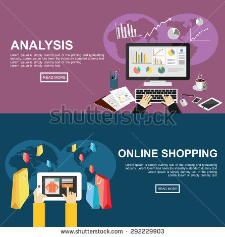 Banner For Analysis And Online Shopping Flat Design Illustration