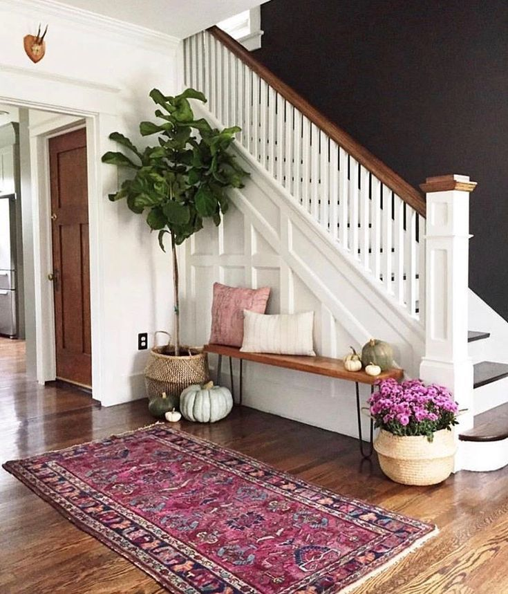 Magenta Home Decoration: Bohemian Rug In Magenta With Clean White Walls And Wood
