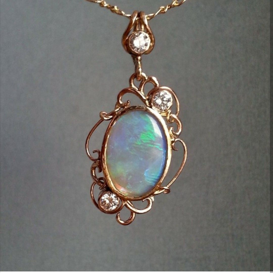 Australian opal and diamond hand fabricated pendant in 14k yellow australian opal and diamond hand fabricated pendant in 14k yellow gold custom made with aloadofball Image collections