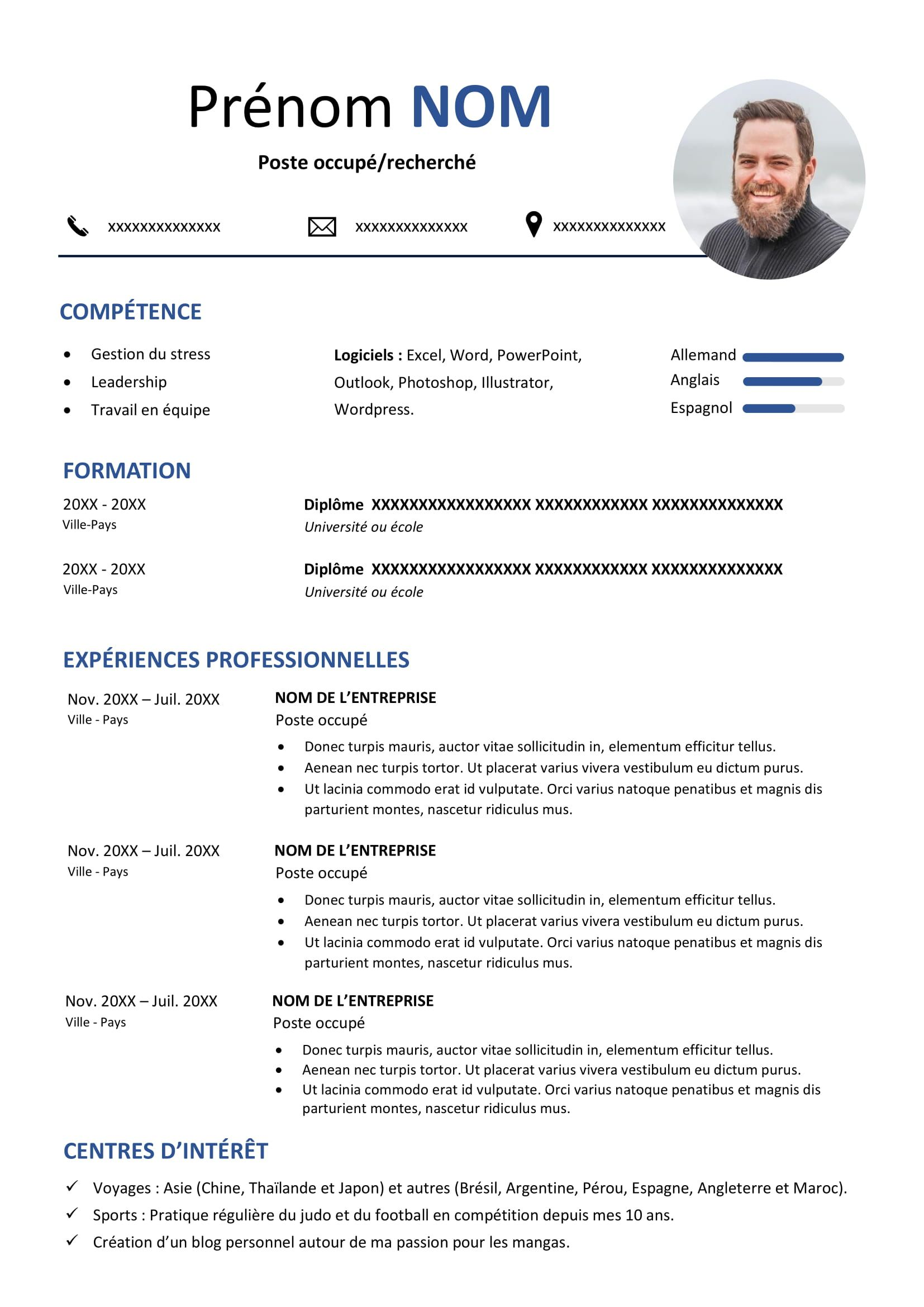 Exemple De Cv En Francais Cv Words Word Doc Resume Format Download
