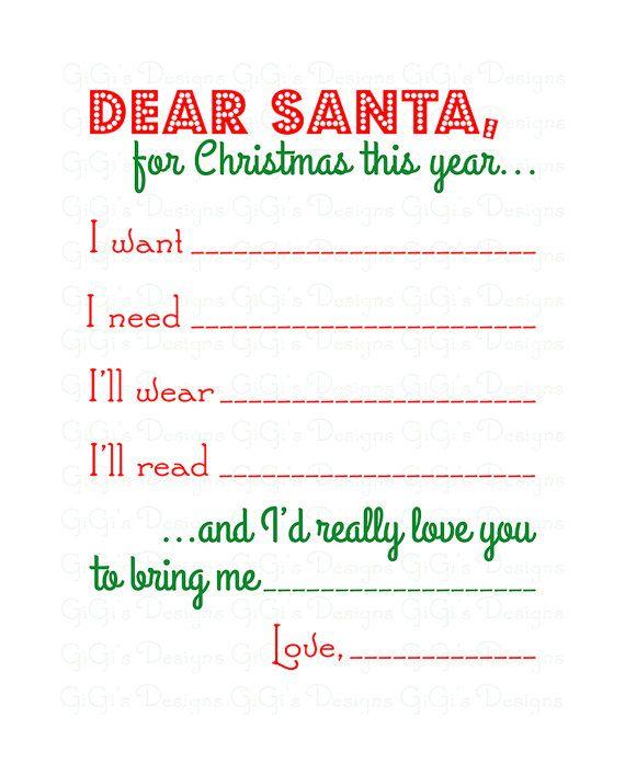 Merry Christmas Dear Santa Letter Wishlist Wish List I Want I Etsy In 2020 Dear Santa Letter Santa Letter Dear Santa