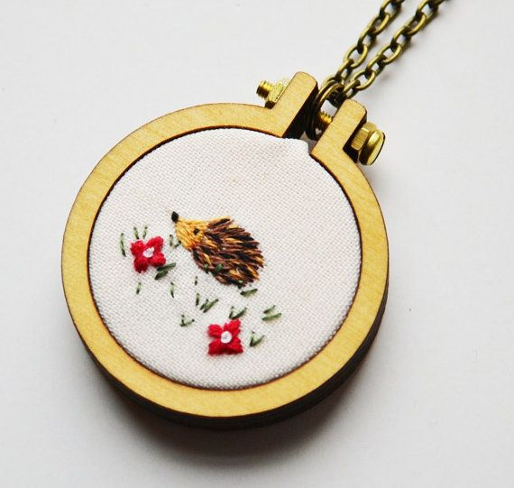 Hedgehog hoop necklace or brooch. Miniature by PixiecraftHandmade