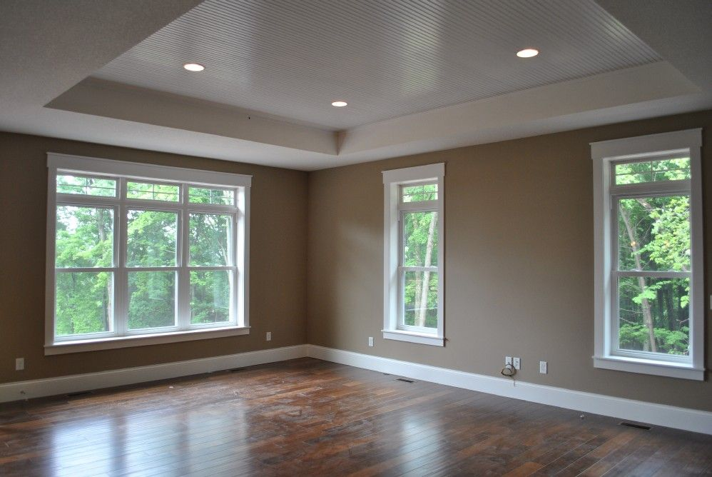 Recessed Ceiling In Great Room Neutral Light Brown Paint With White Trim Rabl Diemert House C M Properties And Constructi Home Builders Custom Homes Home