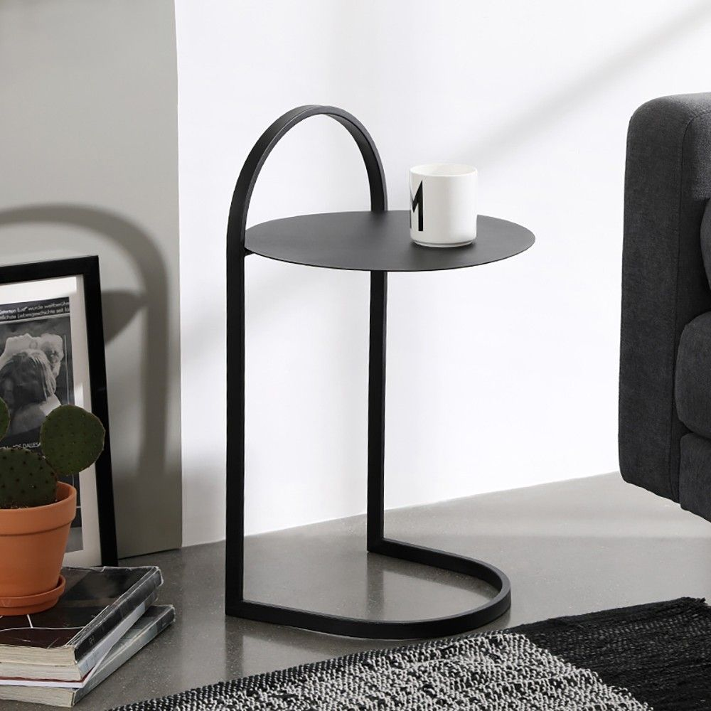 Black C Style End Table Nordic Simplistic Bed Side Table With Pull Metal In 2021 Side Table Decor Living Room Side Table Side Table