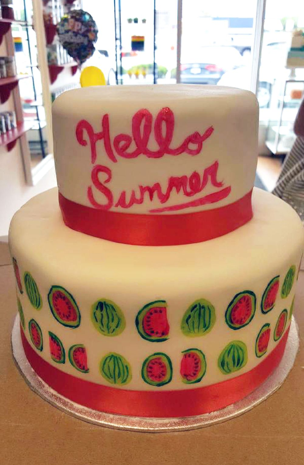 Two Tiered Watermelon Summer Watercolor Cake Made By Cupcasions
