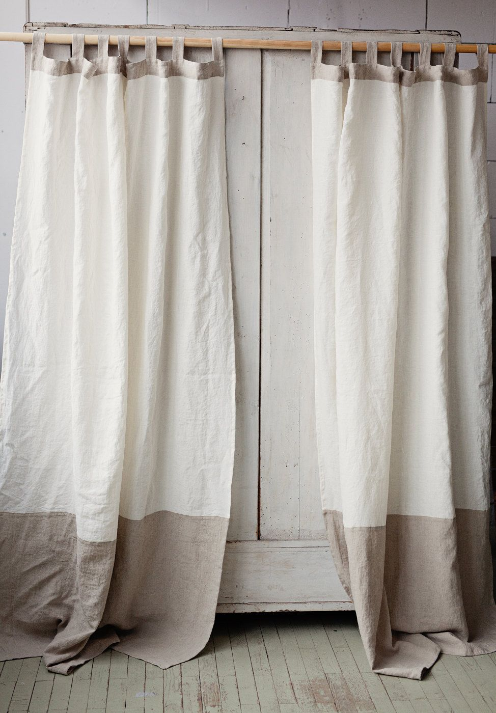 Tab Top Linen Curtain Panel In Two Colors Colour Block Window