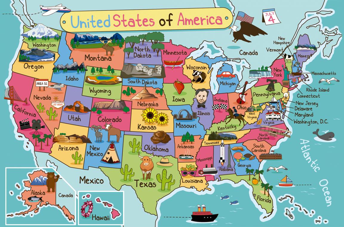 Pin En Mapashttps Www Viajejet Com Wp Content Viajes Mapa De Estados Unidos Con Dibujos 1152x759 Png