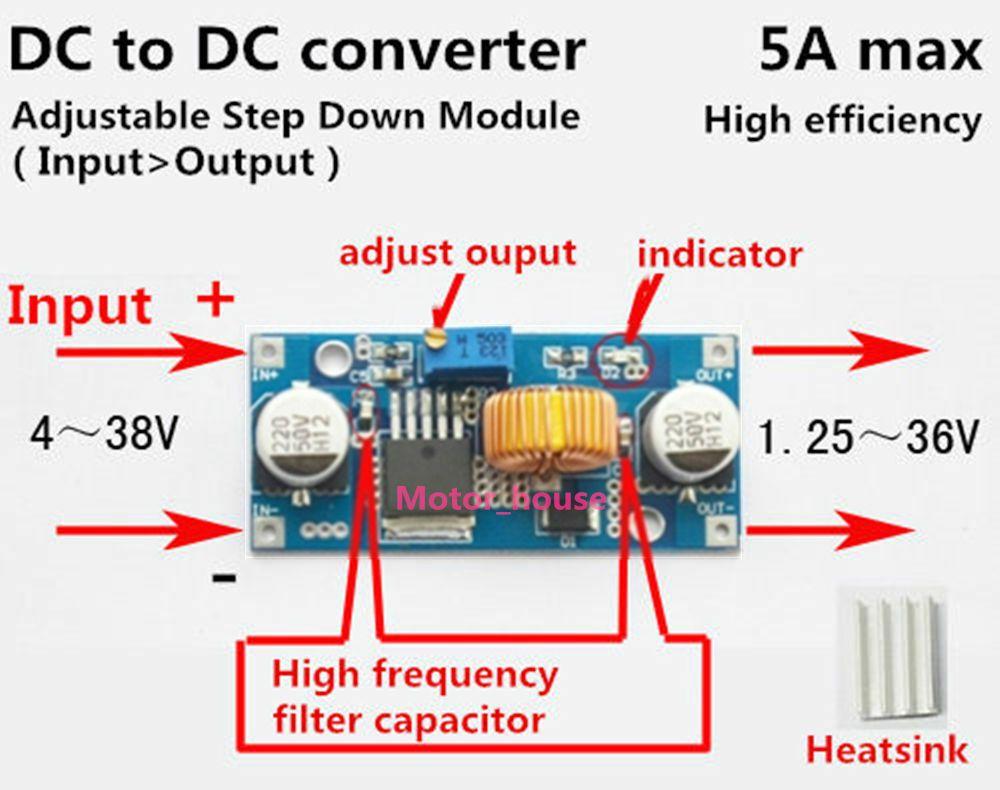 5A convertitore DC-DC Buck Step Down 4-38V a 1,25-36V Power Control