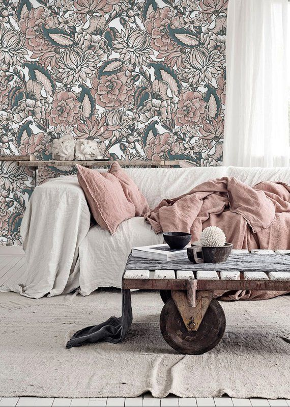 Pink Flowers Traditional Wallpaper Wall Covering