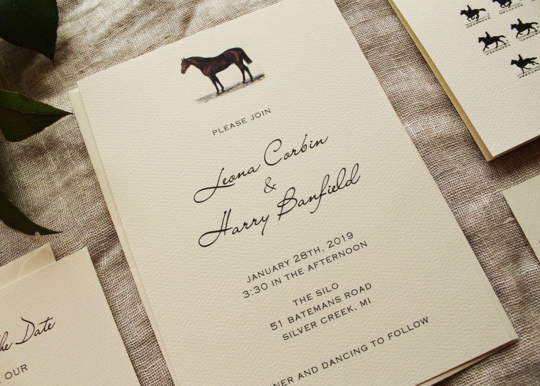 Horse Wedding Invitation Suite Barn Wedding Invite Printed