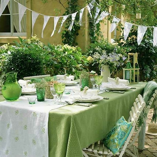 Summer party table decoration in white and green color httproom summer party table decoration in white and green color 30 wedding anniversaryanniversary ideaswhite junglespirit Images