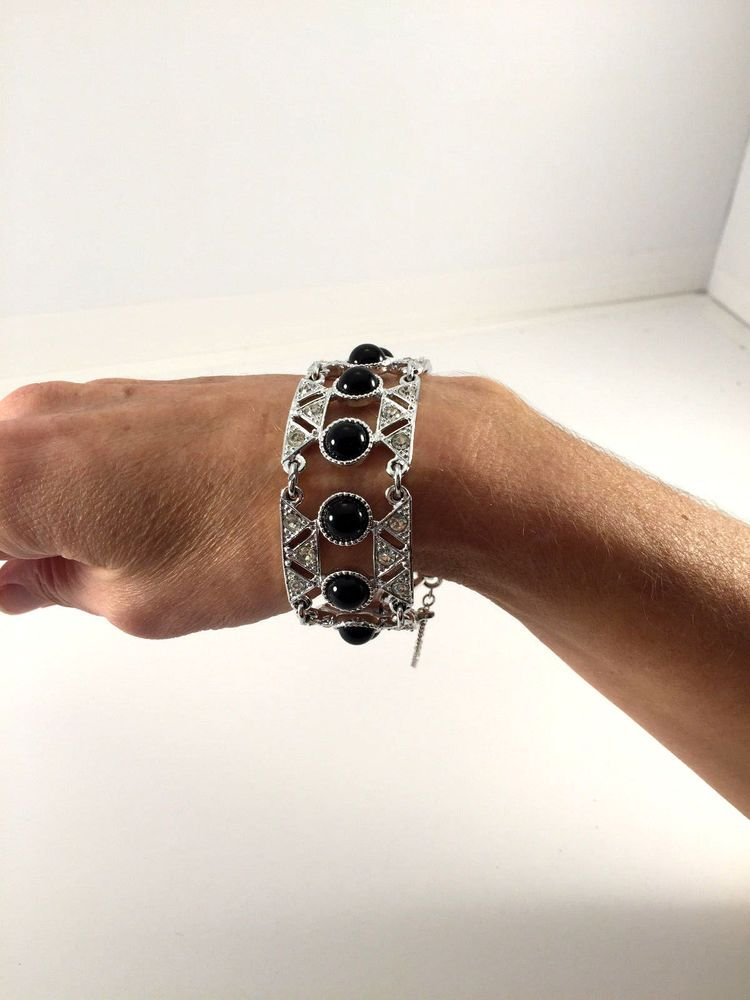 Vtg 70s sign Sarah Coventry Operetta Bracelet Rhinestones Silver Black CAB ee6 #SarahCoventry