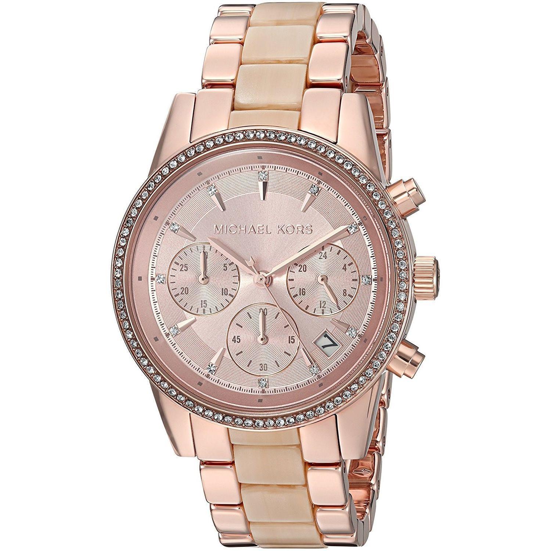 e49ce7cf050d Michael Kors Women s MK6493  Ritz  Chronograph Crystal Two-Tone and Acetate  Watch