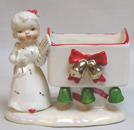 Vintage Christmas NORCREST Angel About to Mail Card in Mailbox Planter SCARCE!