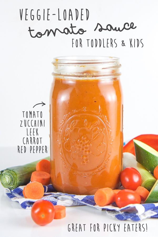 This Veggie-Loaded Tomato Sauce is a great way to get even the pickiest of eaters to eat their veggies! Filled with tomatoes, zucchini, carrots, leeks and red peppers, this sauce is full of nutrient dense veggies all while still tasting like a delicious homemade tomato sauce. Your kids won't even no