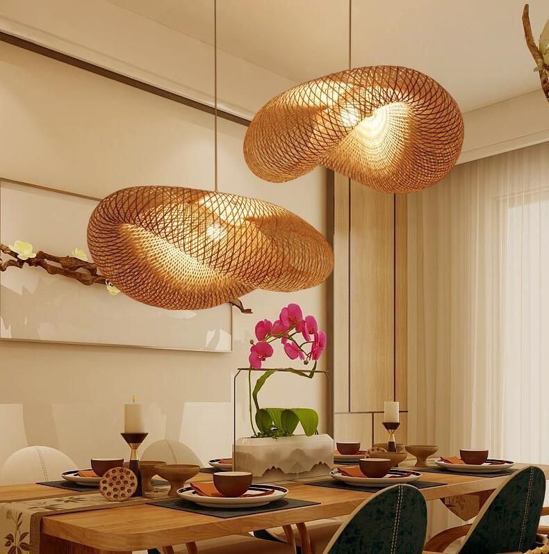 Bamboo Wicker Rattan Wave Shade Pendant – Wood Chandeliers