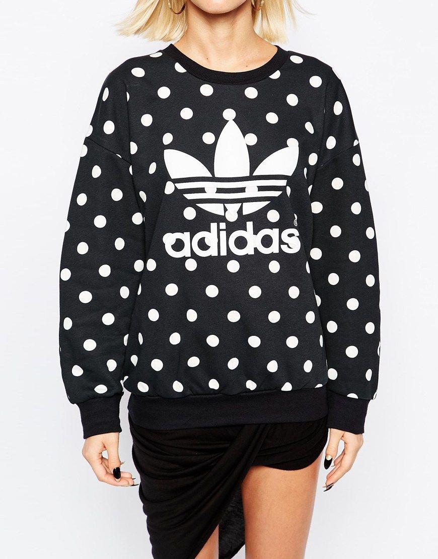 Image 3 of adidas Originals Polka Dot Trefoil Logo Sweatshirt