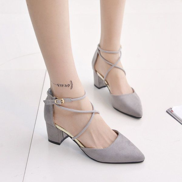 Thick-Heeled Breathable Pointed Toe Buckle Flat Shoes