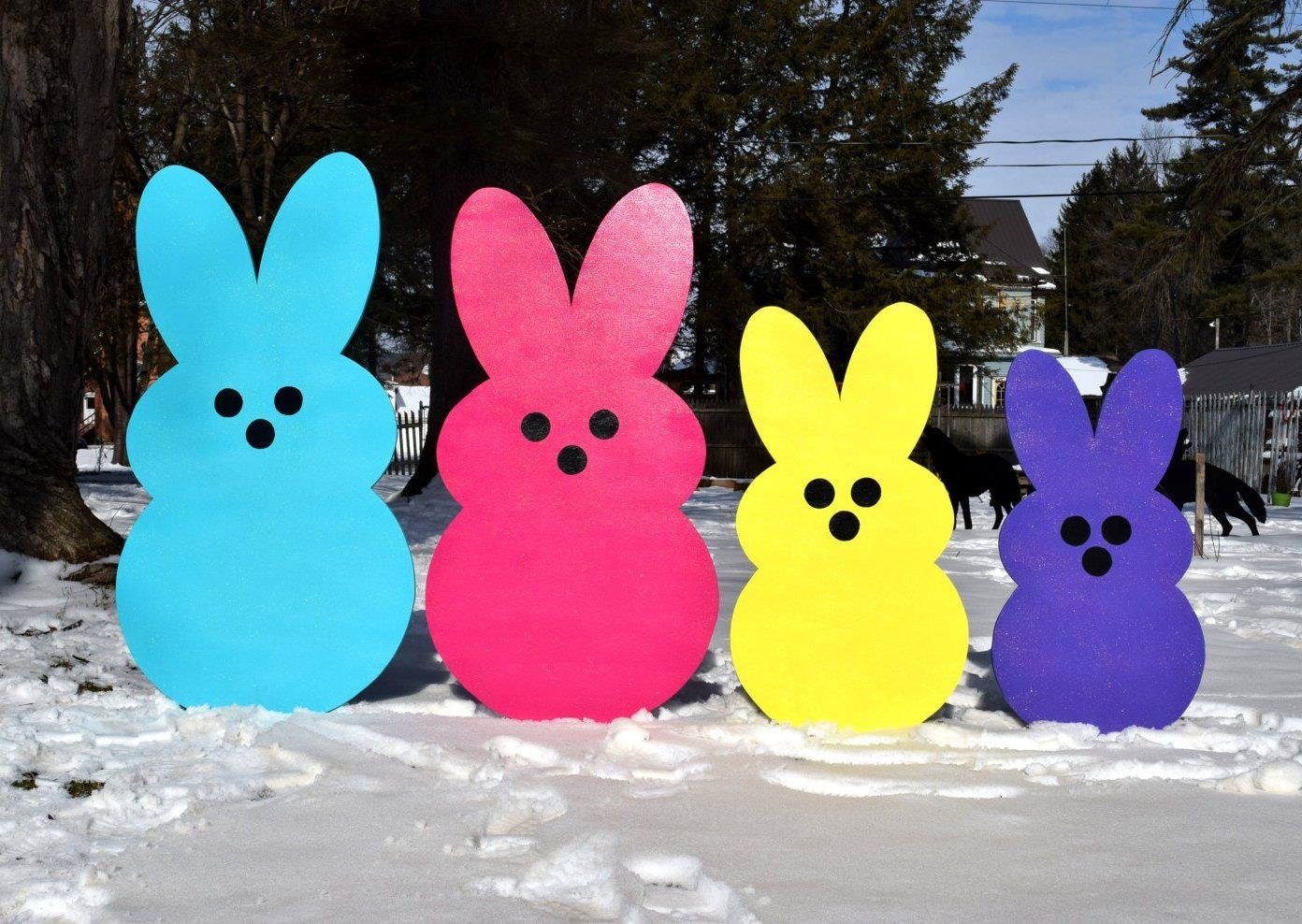 Giant Easter Bunny Peeps Outdoor Easter Decoration Painted Wood Yard Art Easter Bunny Rabbit Peeps Garden Stake Lawn Yard Stakes Easter Yard Decorations Easter Yard Art Wood Yard Art