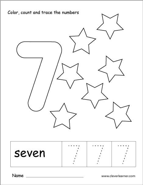 Number 7 tracing and colouring worksheet for kindergarten ...