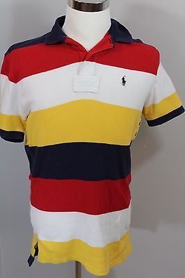 b3d9a109 VINTAGE RALPH LAUREN Polo Rugby Shirt Size Red White Blue Yellow Striped  Medium