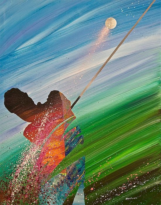 Abstract Golf By Douglas Fincham Golf Painting Golf Art