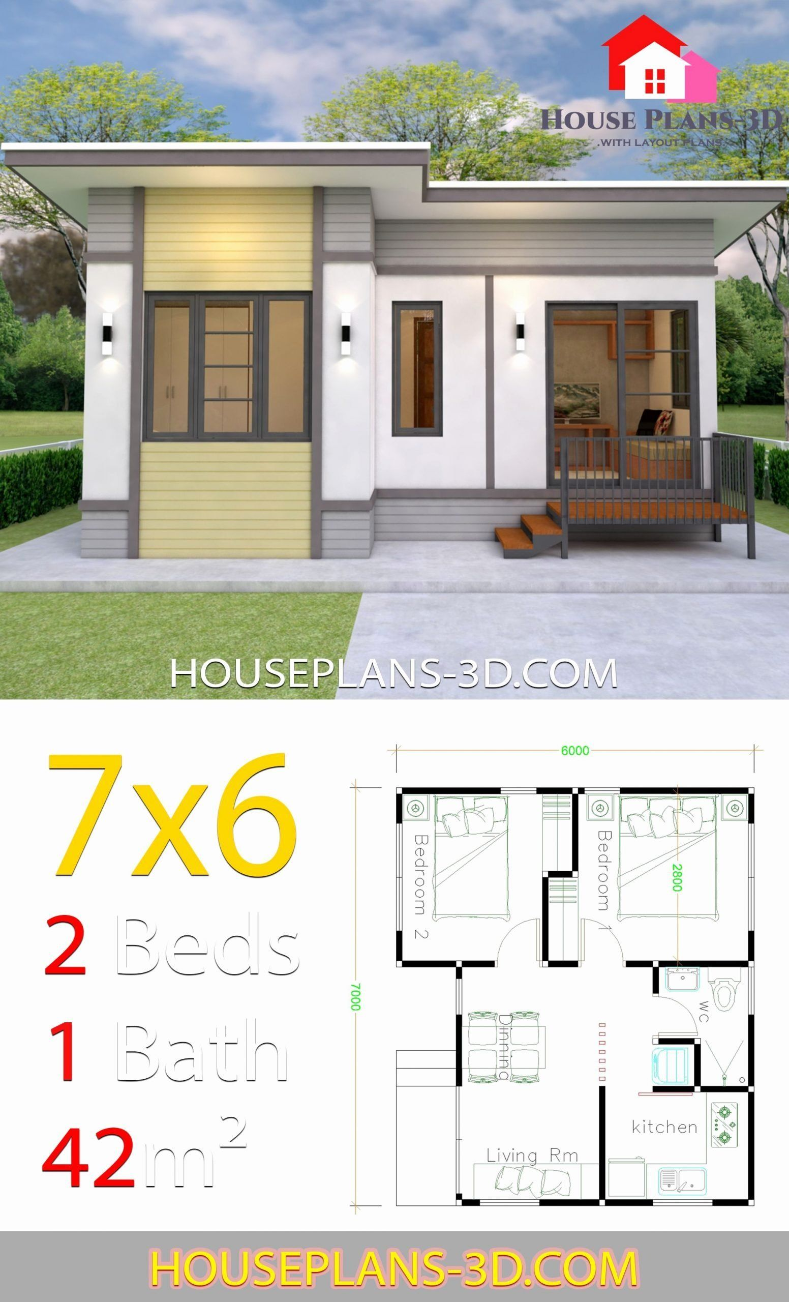 2 Bedroom Home Design Lovely Small House Plans 7x6 With 2 Bedrooms House Plans 3d In Flat Roof House House Plans Simple House Plans